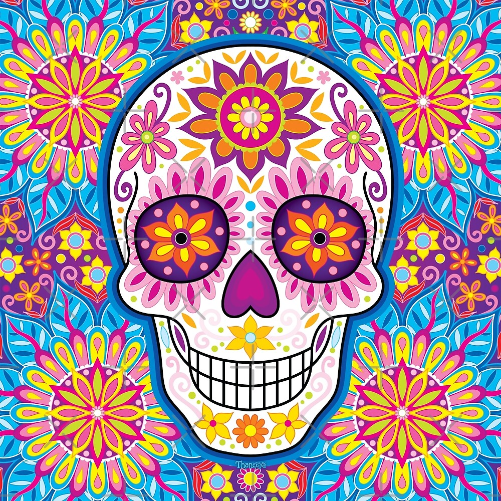 sugar skull art day of the dead art by thaneeya mcardle redbubble