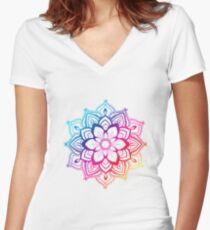 Warm Mandala Women's Fitted V-Neck T-Shirt
