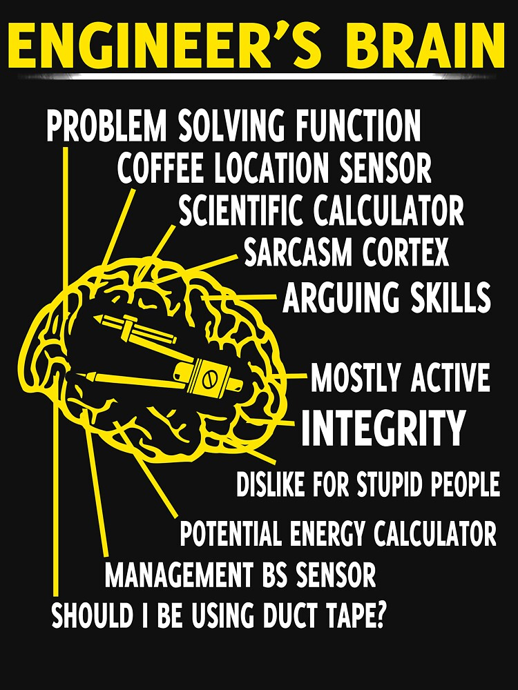 453458192b ENGINEER S BRAIN PROBLEM SOLVING FUNCTION COFFEE LOCATION SENSOR SCIENTIFIC  CALCULATOR SARCASM CORTEX ARGUING SKILLS MOSTLY ACTIVE