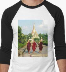 Three monks at Shwedagon Pagoda Men's Baseball ¾ T-Shirt