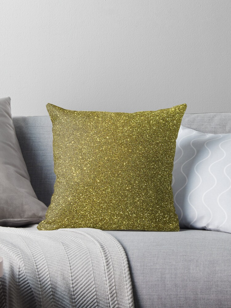 Classic Bright Sparkly Gold Glitter Throw Pillows By Honorandobey Cool Sparkly Decorative Pillows