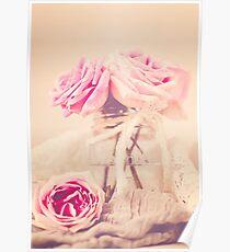 Creamy Pink Roses in Mason Jar Poster