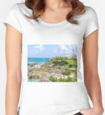 Green hills, blue sky, blue ocean Fitted Scoop T-Shirt