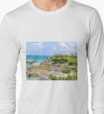 Green hills, blue sky, blue ocean Long Sleeve T-Shirt