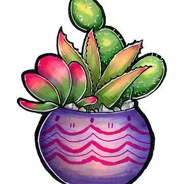 Lila Vase Kaktus von Pompadorkery