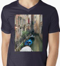 Parked Boats in Venice Men's V-Neck T-Shirt