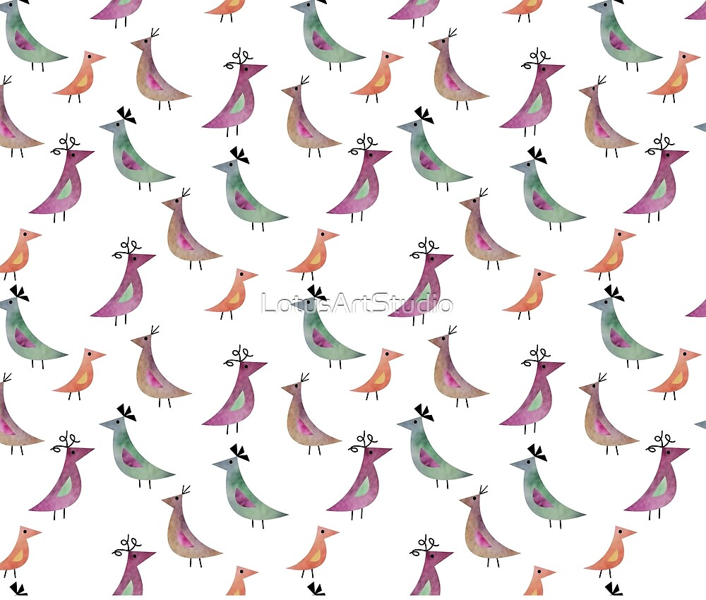 Bird Watercolor White Background Pattern by LotusArtStudio