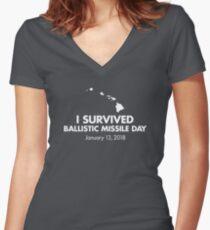 I survived Ballistic Missile Day Women's Fitted V-Neck T-Shirt