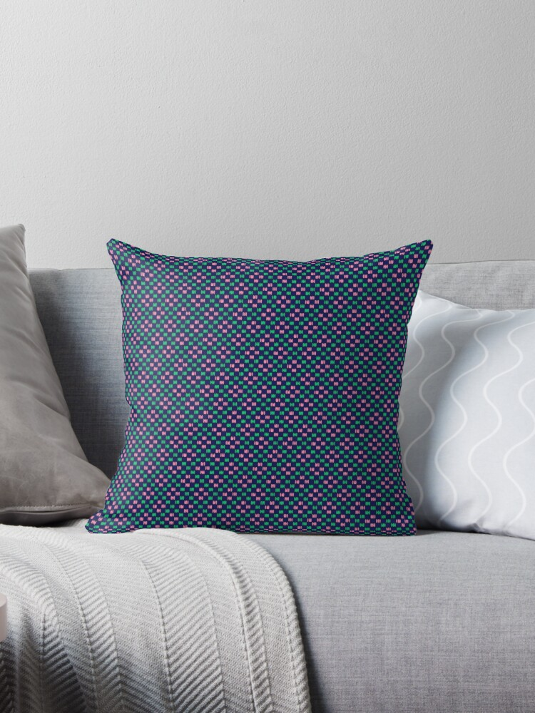 Green and Pink Faux Weave on Navy Blue Retro Pattern by coverinlove