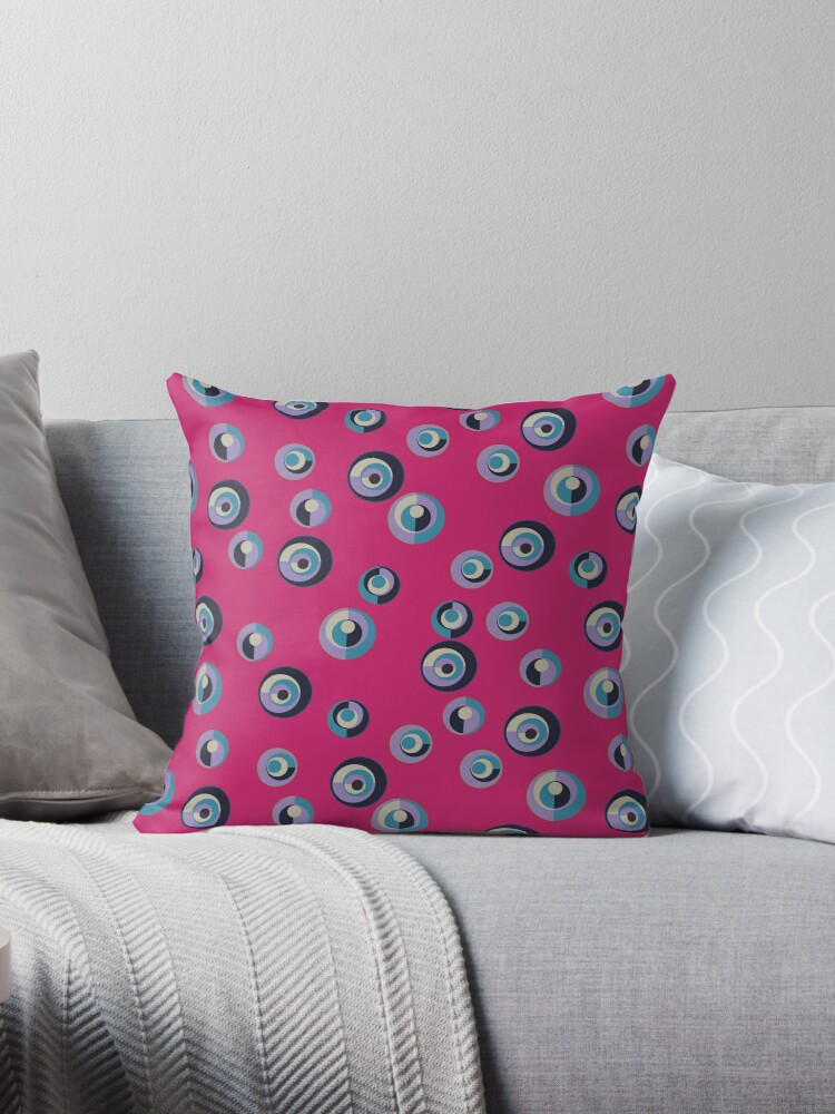Ultra Violet, Robins Egg Blue and Black Dots on Hot Pink Retro Pattern by coverinlove
