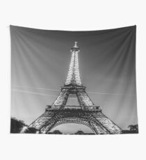 Eiffel Tower and sunset (Black and White) Wall Tapestry
