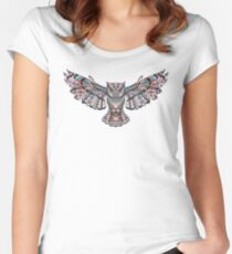 Patterned Owl Women's Fitted Scoop T-Shirt