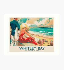 Whitley Bay, England Beach Vintage Travel Poster Art Print