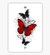 Red and Black Butterflies Sticker