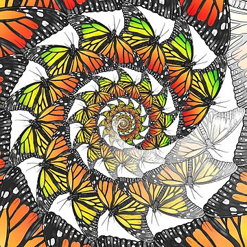 Monarch Butterfly Mandala Rastafarian Jamaica Jamaican Colors Fade White by DooodleGod