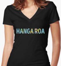 Hanga Roa World Map - Cool Easter Island Traveler Gift Women's Fitted V-Neck T-Shirt
