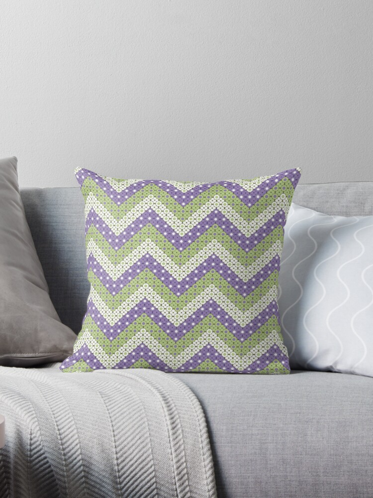 Ultra Violet and Green Dotted Chevron Retro Pattern by coverinlove