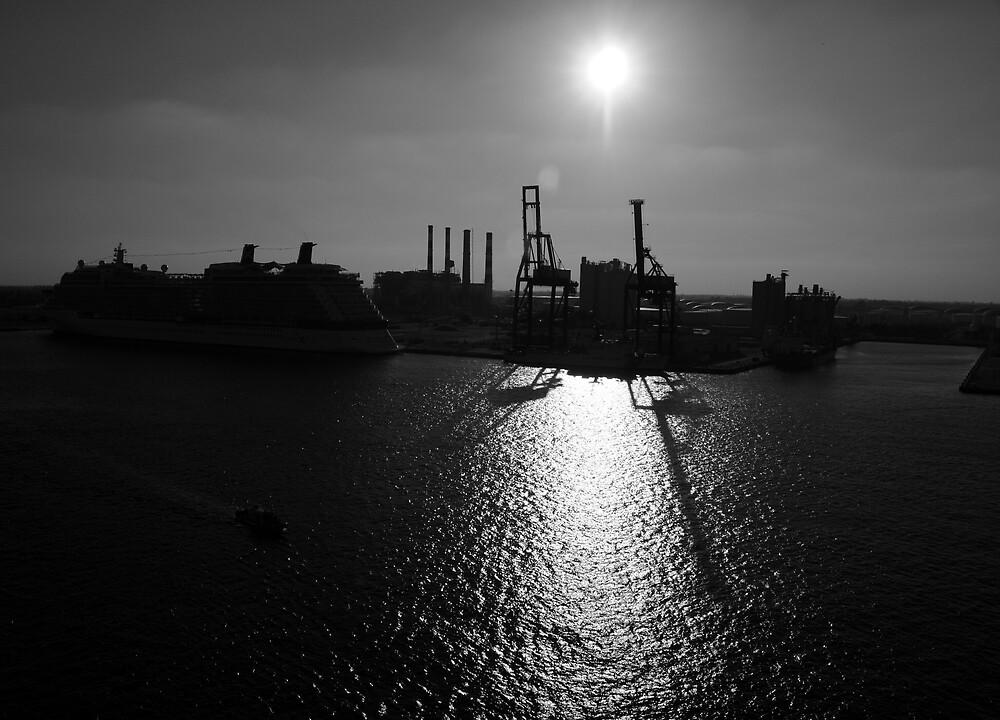 Sundown at Port Everglades by Stuart Upchurch