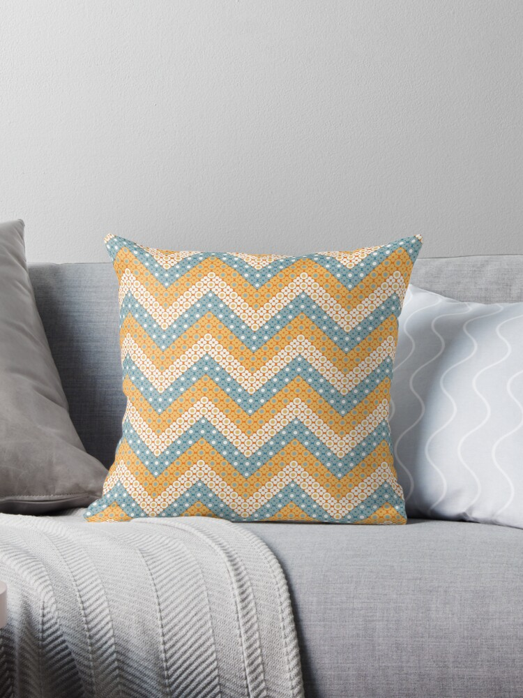 Robins Egg Blue and Orange Dotted Chevron Retro Pattern by coverinlove