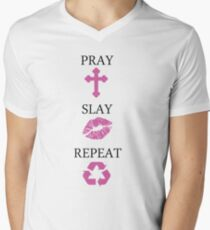Pray Slay Repeat Men's V-Neck T-Shirt