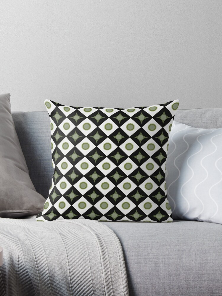Green and Black Dots in Diamonds and Stars Retro Pattern by coverinlove