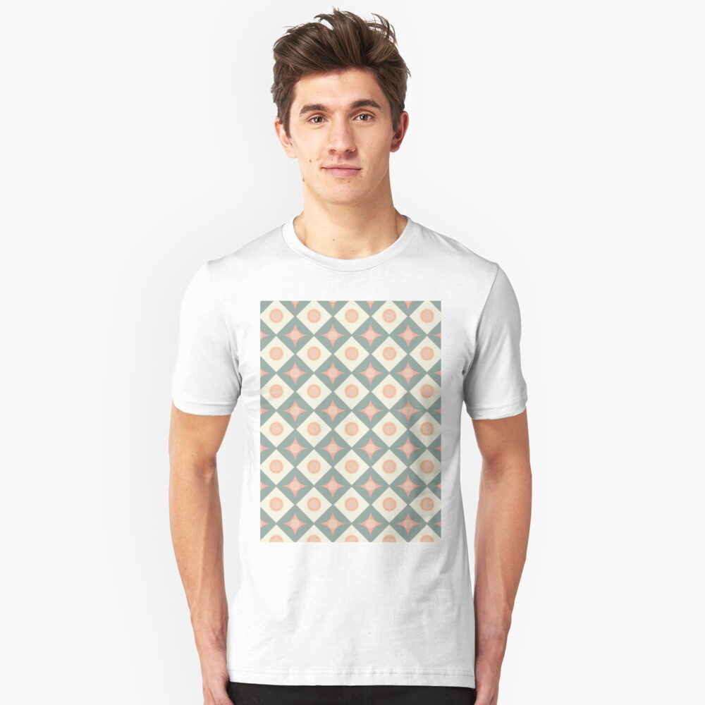 Pink and Green Dots in Diamonds and Stars Retro Pattern Unisex T-Shirt Front