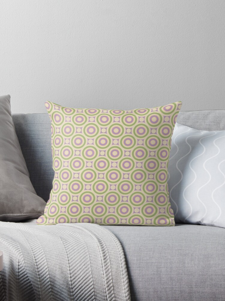 Pink and Green Intersecting Circles and Dots Retro Pattern by coverinlove