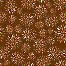 Abstract colorful flowers on brown background. by Elsbet