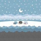 Sleepy Sheep Blue by Holly Bender