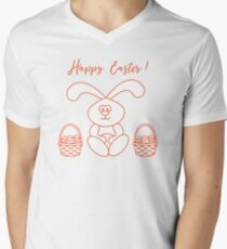 Easter rabbit and two baskets of decorated eggs. Men's V-Neck T-Shirt