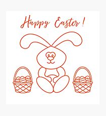 Easter rabbit and two baskets of decorated eggs. Photographic Print