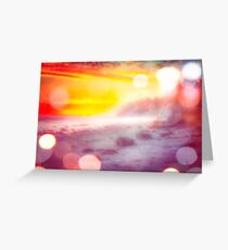 sunset sky at the beach in summer with bokeh light abstract Greeting Card