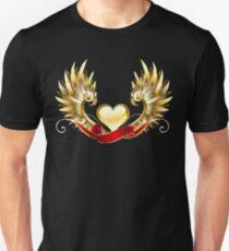 Golden heart with golden wings Unisex T-Shirt