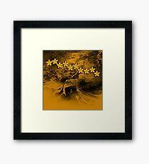 Orange flowers in an abstract grunge landscape Framed Print