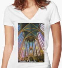 Vintage Sainte-Chapelle Travel Poster Women's Fitted V-Neck T-Shirt