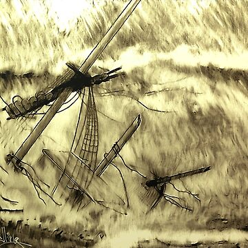 A digital painting of a Doomed Sailing Ship by ZipaC