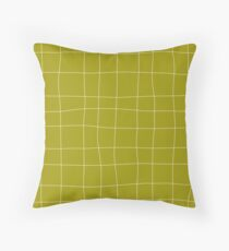 Yellow and white check, square, plaid pattern Throw Pillow