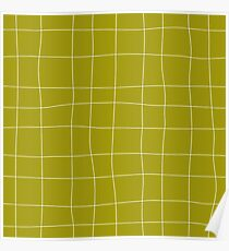 Yellow and white check, square, plaid pattern Poster