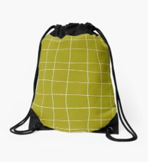 Yellow and white check, square, plaid pattern Drawstring Bag