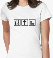 Nun cross church Womens Fitted T-Shirt