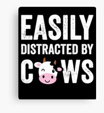 Easily distracted by cows - Cows farmer Canvas Print