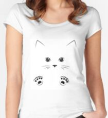 black outline drawing cat gir face with paws Women's Fitted Scoop T-Shirt