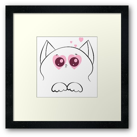 cat face with paws and pink hearts by Alexx60