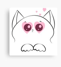 cat face with paws and pink hearts Canvas Print