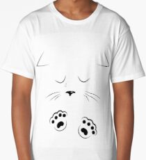 outline drawing sad cat face with paws Long T-Shirt