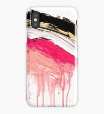 Modern abstract pink black gold brushstrokes splatters acrylic paint iPhone Case/Skin
