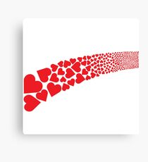 Red hearts stripe Canvas Print