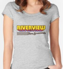Riverview, New Brunswick | Retro Stripes Women's Fitted Scoop T-Shirt