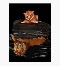 Cute little simba and the big old lion king reflection Photographic Print