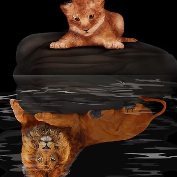 Cute little simba and the big old lion king reflection by dezigner007